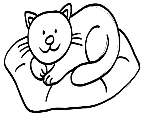 kostenlose malvorlage katzen katze auf kissen ausmalen