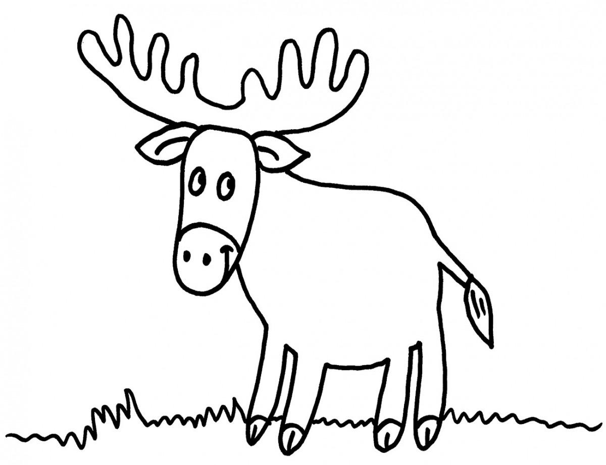 Kostenlose Malvorlage Tiere: Elch auf der Wiese ausmalen zum Ausmalen