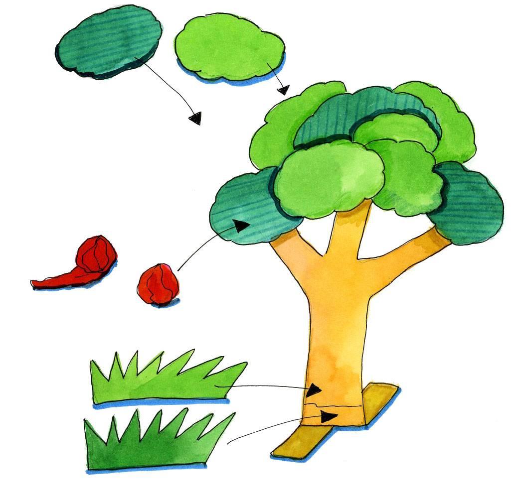 Basteln Mit Kindern Kostenlose Bastelvorlage Natur Apfelbaum Basteln