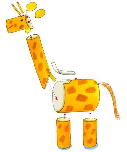 basteln mit kindern kostenlose bastelvorlage tiere giraffe aus tonpapier. Black Bedroom Furniture Sets. Home Design Ideas