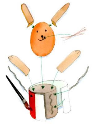basteln mit kindern kostenlose bastelvorlage ostern fliegender osterhase im fesselballon. Black Bedroom Furniture Sets. Home Design Ideas