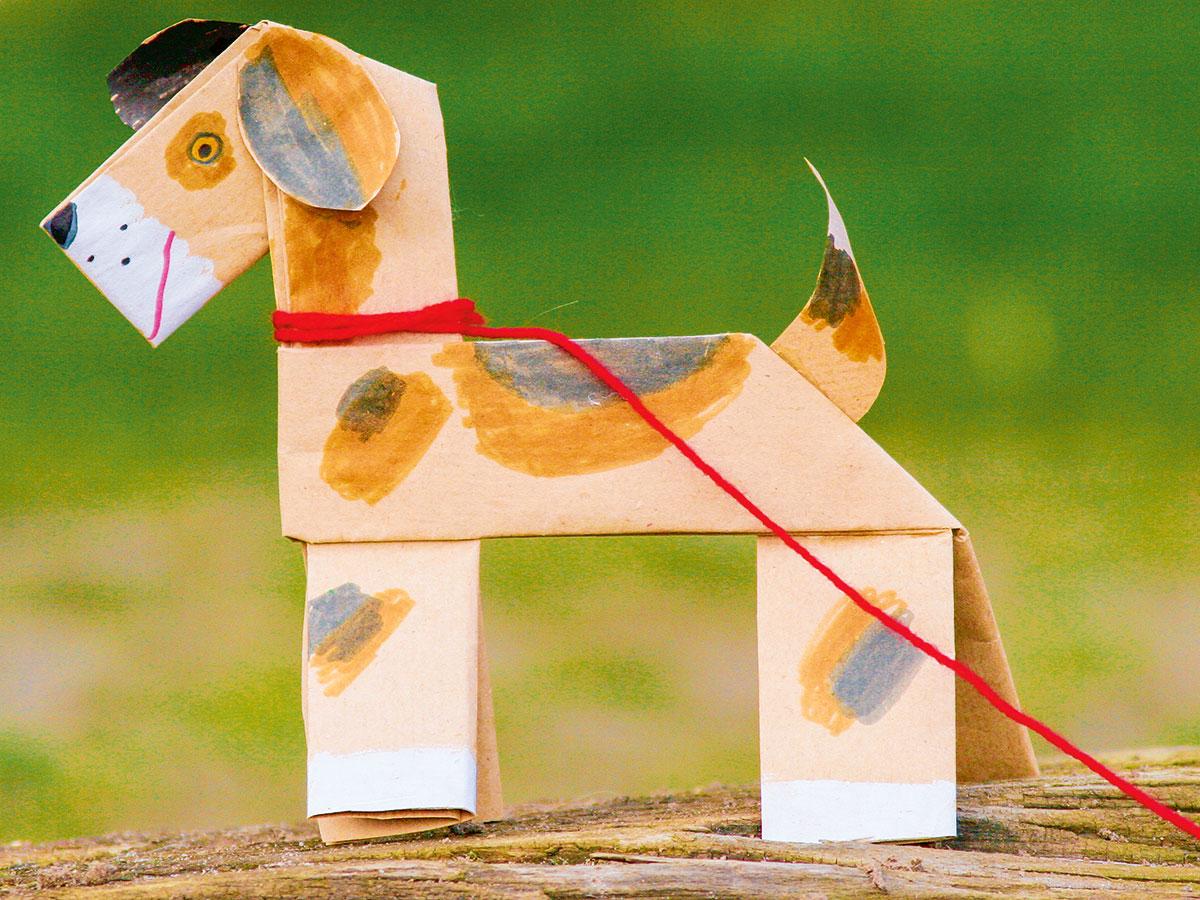 basteln mit kindern kostenlose bastelvorlage tiere hund aus papier. Black Bedroom Furniture Sets. Home Design Ideas