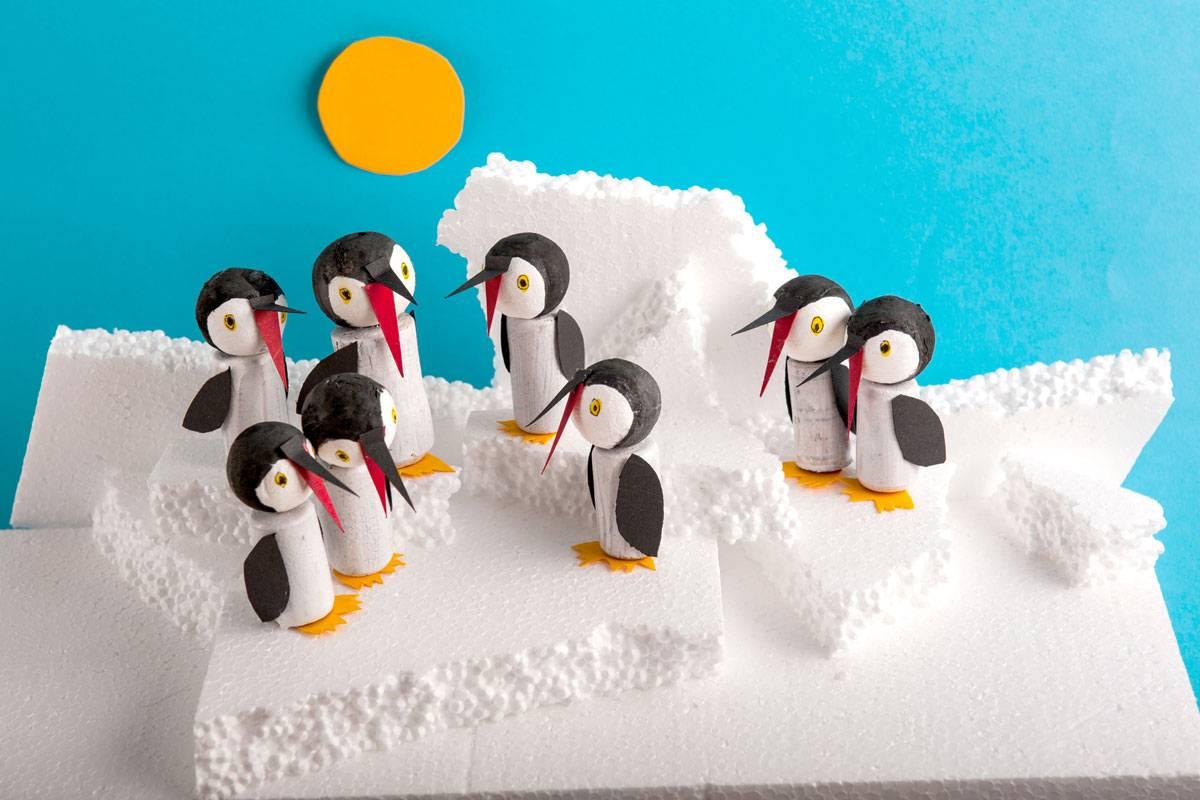 basteln mit kindern kostenlose bastelvorlage tiere putzige pinguine. Black Bedroom Furniture Sets. Home Design Ideas