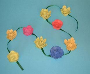 Kostenlose Bastelvorlage Blumen-Girlande zum Basteln