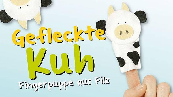 basteln mit kindern kostenlose bastelvorlage tiere kuh fingerpuppe aus filz. Black Bedroom Furniture Sets. Home Design Ideas