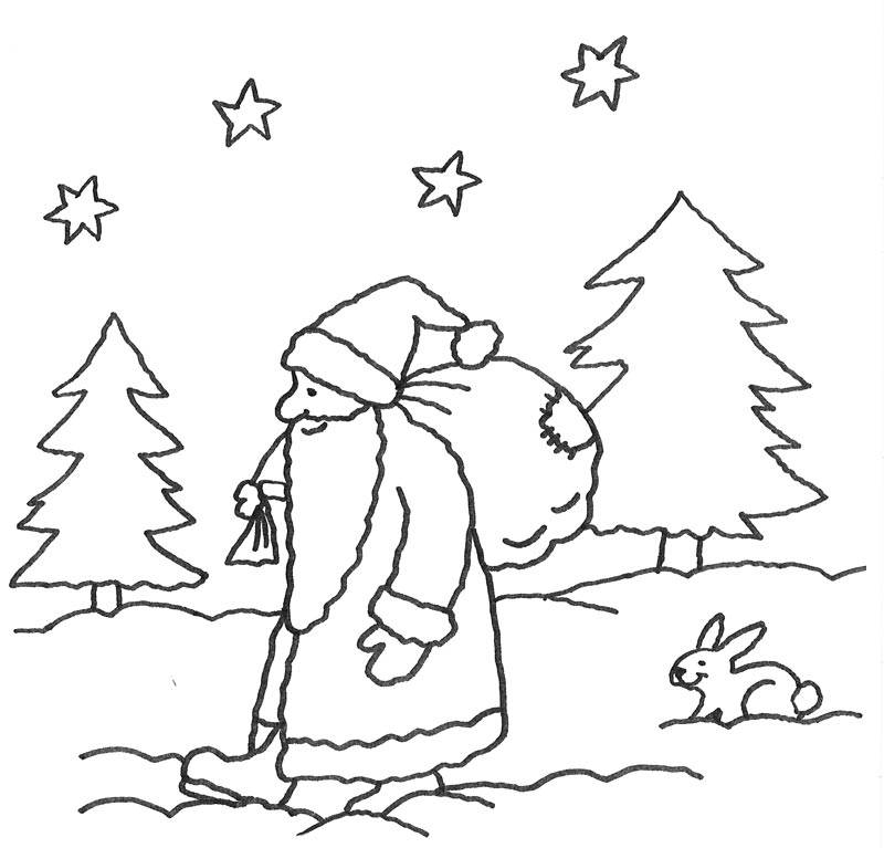 Ausmalbild Advent Nikolaus Im Wald Kostenlos Ausdrucken