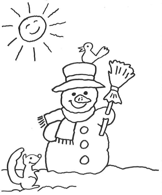Ausmalbild Advent: Schneemann bei Sonnenschein kostenlos ausdrucken