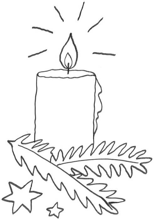 Kostenlose Malvorlage Advent: Adventskerze zum Ausmalen