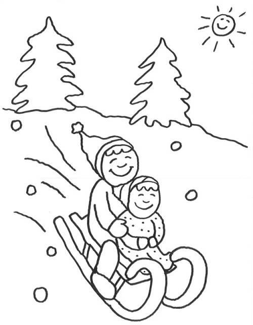 Kostenlose Malvorlage Advent Kinder Beim Schlittenfahren Zum Ausmalen