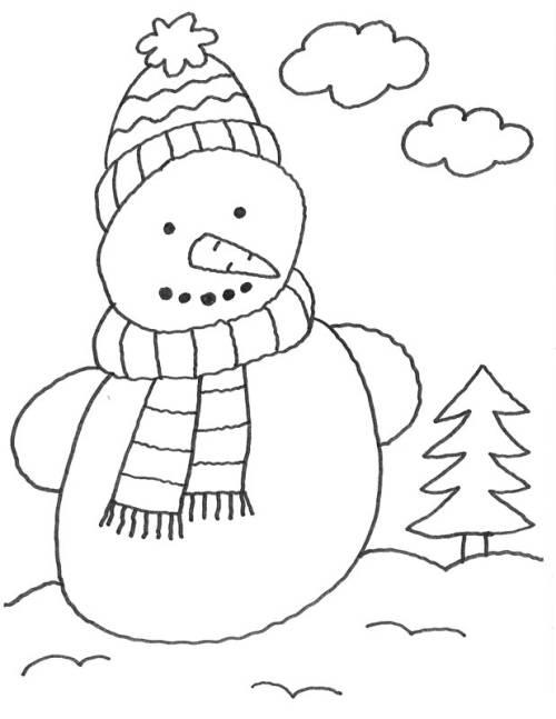 Kostenlose Malvorlage Advent: Schneemann zum Ausmalen