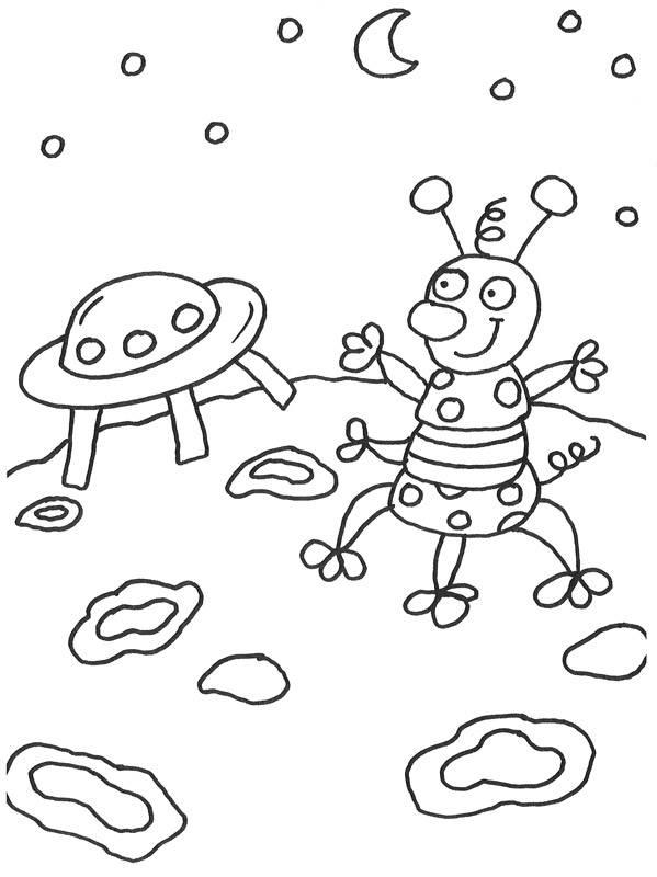 ausmalbild außerirdische und das weltall außerirdischer