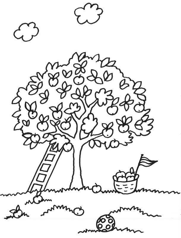 Ausmalbild Bäume: Baum mit Leiter kostenlos ausdrucken