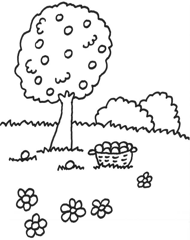 Kostenlose Malvorlage Bume Obstbaum zum Ausmalen