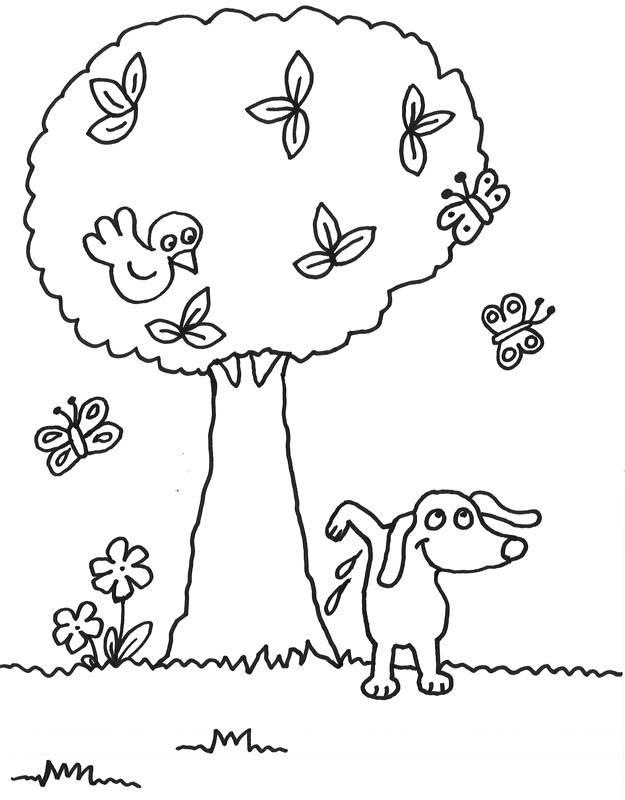 Kostenlose Malvorlage Bäume: Tiere und der Baum zum Ausmalen