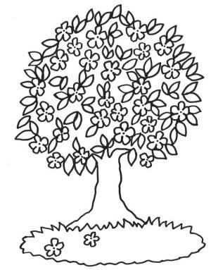 Frühling Tipp: Kostenlose Malvorlage: Blühender Baum