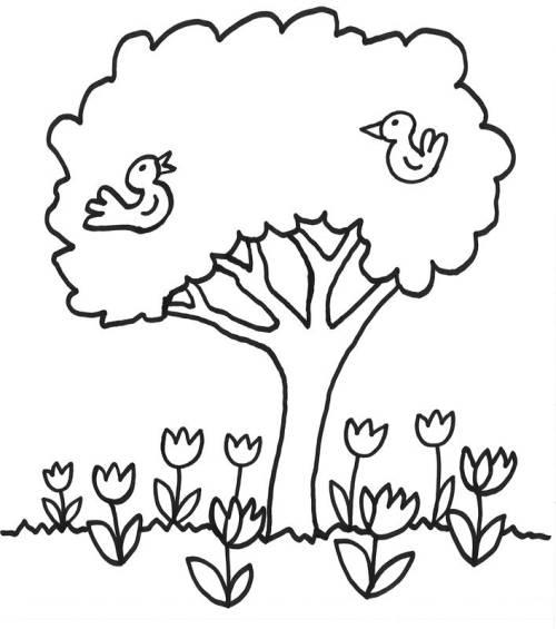 Kostenlose Malvorlage Bäume: Blumen unter dem Baum zum Ausmalen