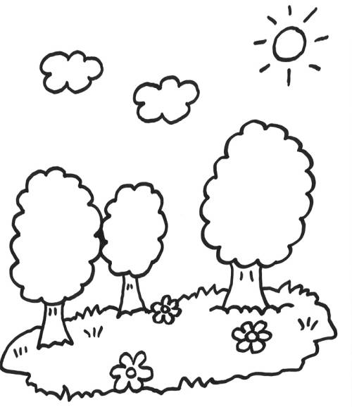 Kostenlose Malvorlage Bäume: Drei Bäume zum Ausmalen
