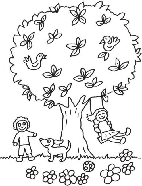 Kostenlose Malvorlage Bäume: Kinder spielen unter dem Baum zum Ausmalen