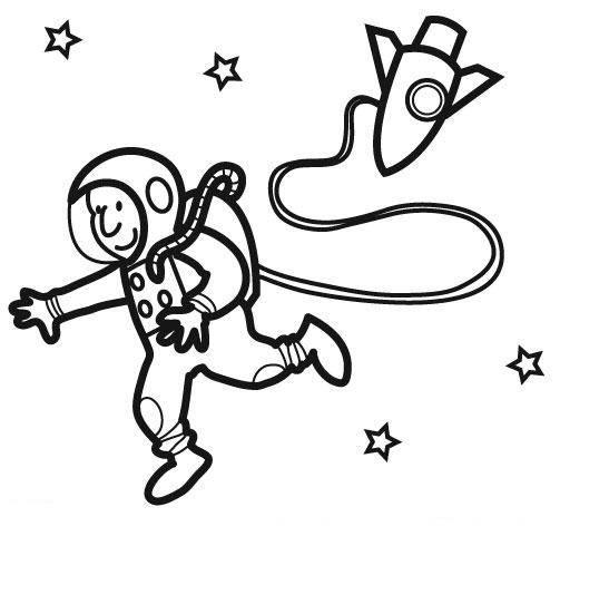 Ausmalbild Berufe Astronaut Im Weltall Kostenlos Ausdrucken