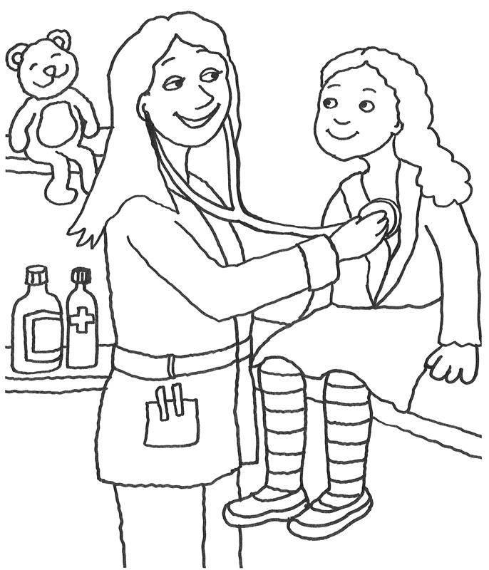 Kostenlose Malvorlage Berufe: Kinderärztin zum Ausmalen