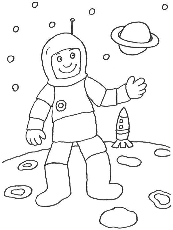 Kostenlose Malvorlage Berufe: Astronaut im Weltall zum Ausmalen