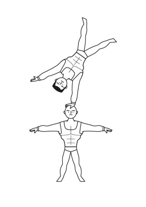 kostenlose malvorlage berufe akrobaten im zirkus zum ausmalen