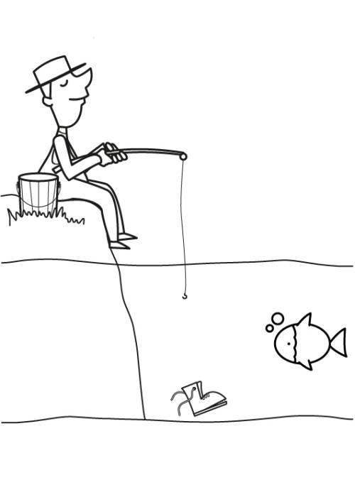 Kostenlose Malvorlage Berufe: Angler zum Ausmalen zum Ausmalen