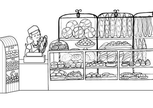 Malvorlagen Für Kinder: Kostenlose Malvorlage Berufe: Bäckereiverkäuferin Zum