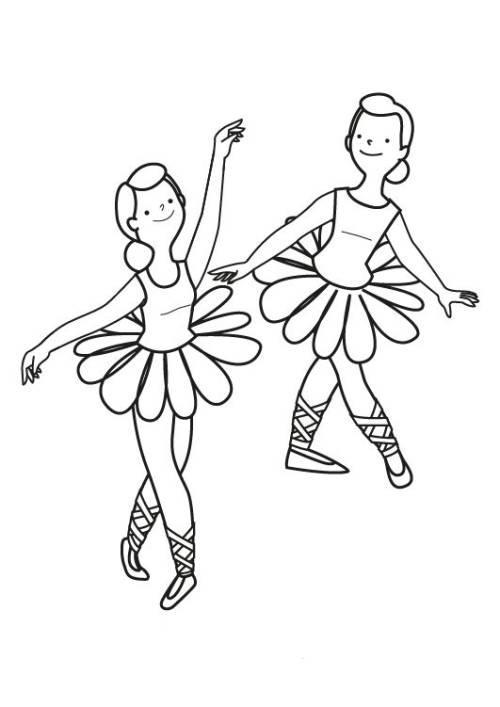 Kostenlose Malvorlage Berufe: Tänzerinnen zum Ausmalen zum Ausmalen