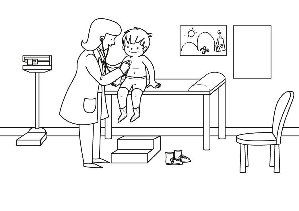 Ausmalbild Berufe: Sprechstunde bei der Kinderärztin kostenlos ...