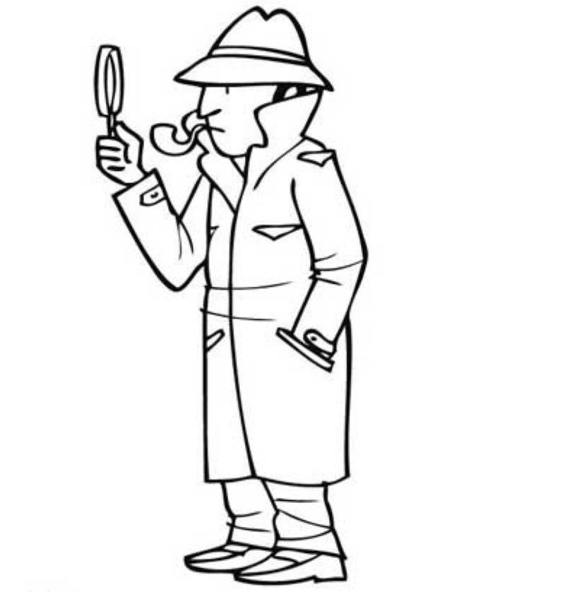 Ausmalbild Berufe: Detektiv kostenlos ausdrucken