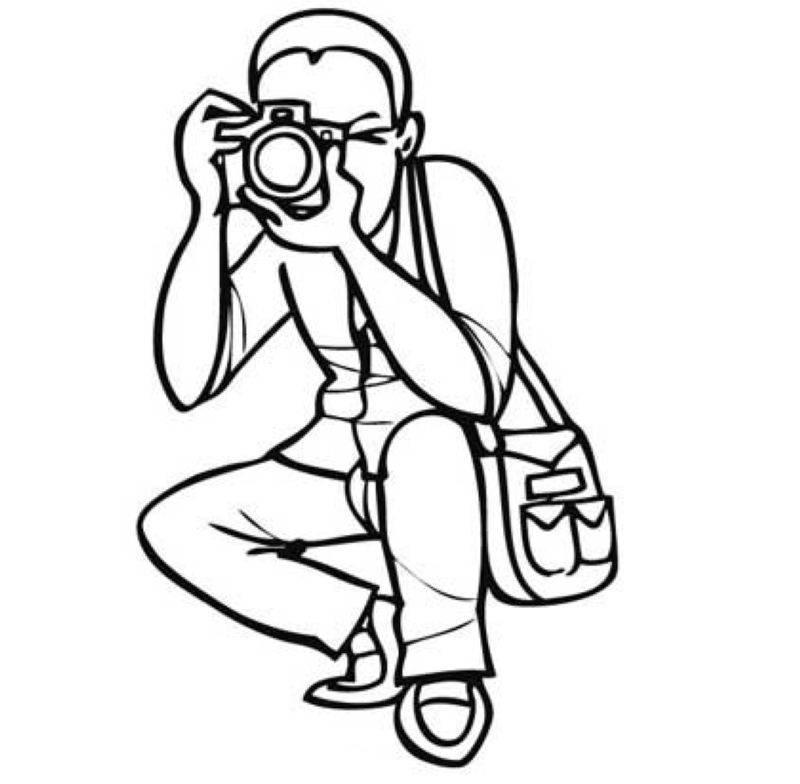 Kostenlose Malvorlage Berufe: Fotograf zum Ausmalen