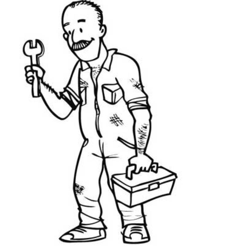 Kostenlose Malvorlage Berufe: Klempner zum Ausmalen