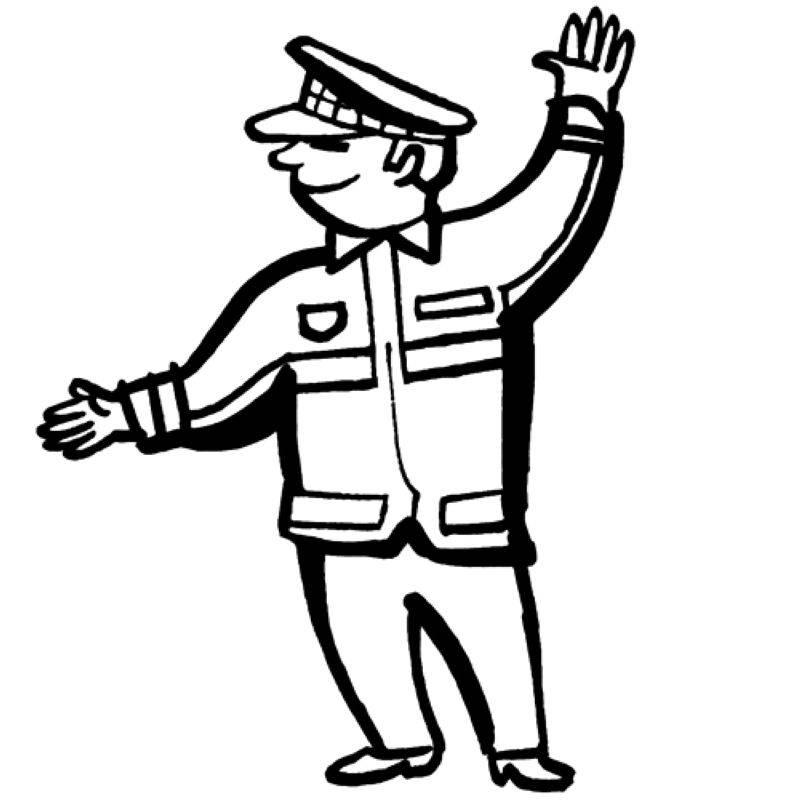 Ausmalbild Berufe: Verkehrspolizist kostenlos ausdrucken