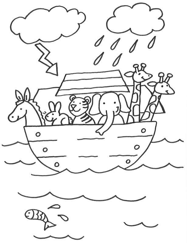 Kostenlose Malvorlage Szenen aus der Bibel: Arche Noah zum Ausmalen