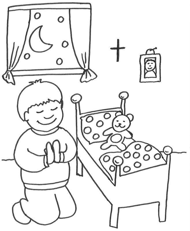 Ausmalbild Szenen aus der Bibel: Gebet vor dem Schlafengehen ...