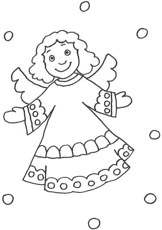 Ausmalbild Szenen aus der Bibel: Engel mit lockigem Haar kostenlos ...