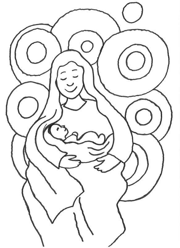 Ausmalbild Szenen aus der Bibel: Maria und das Jesuskind kostenlos ...