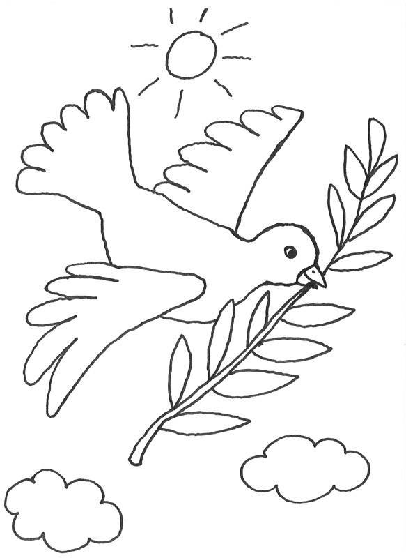 Ausmalbild Szenen aus der Bibel: Friedenssymbol: Taube mit Ölzweig ...