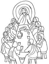 szenen aus der bibel: kostenlose malvorlage: das letzte abendmahl zum ausmalen