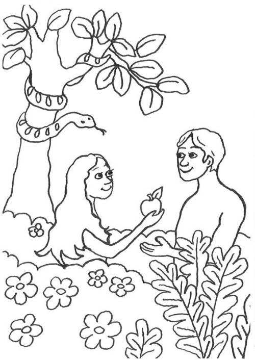 Kostenlose Malvorlage Szenen aus der Bibel: Adam und Eva im Paradis ...
