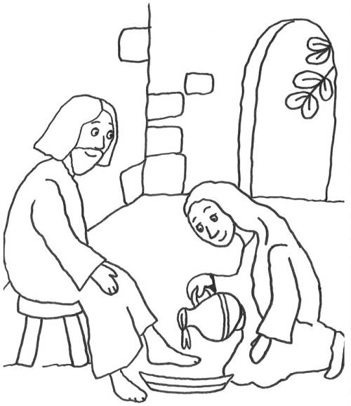 Kostenlose Malvorlage Szenen aus der Bibel: Rituelle Fußwaschung zum ...