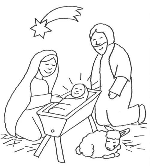 Kostenlose Malvorlage Szenen aus der Bibel: Jesus in der Krippe mit ...
