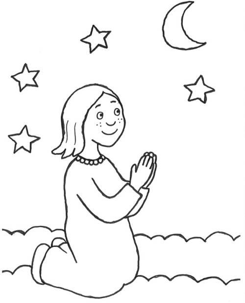 Kostenlose Malvorlage Szenen aus der Bibel: Mädchen beim Nachtgebet ...