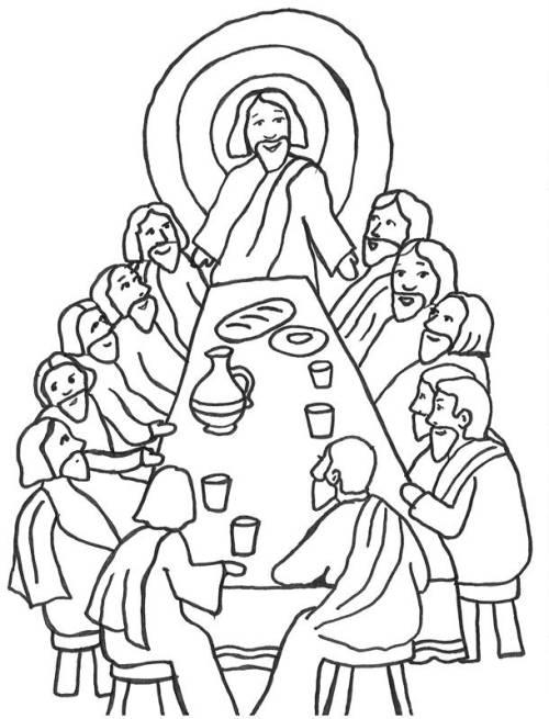 Kostenlose Malvorlage Szenen aus der Bibel: Das letzte Abendmahl zum ...