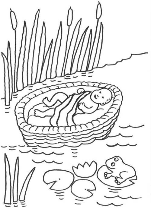 Kostenlose Malvorlage Szenen aus der Bibel: Moses im Korb zum Ausmalen