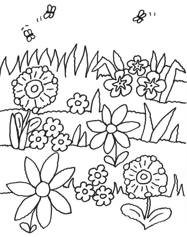 Ausmalbild Blumen Bienen Und Blumen Kostenlos Ausdrucken