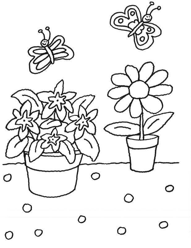 Kostenlose Malvorlage Blumen: Blumentöpfe zum Ausmalen