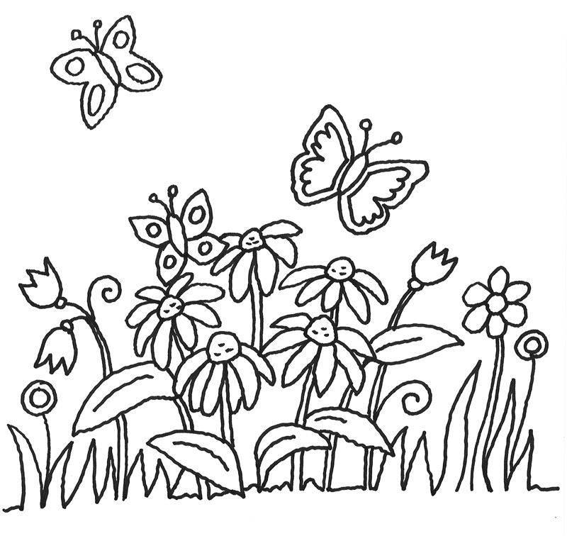 Kostenlose Malvorlage Blumen: Schmetterlinge und Blumen zum Ausmalen
