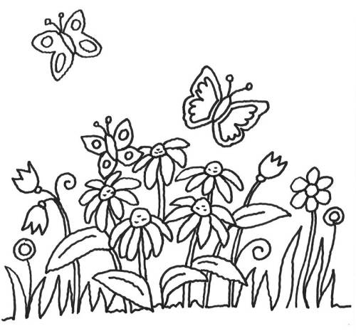 Kostenlose Malvorlage Blumen Schmetterlinge Und Blumen Zum Ausmalen